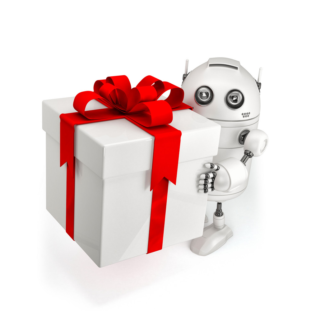 Robot With Gift Box.