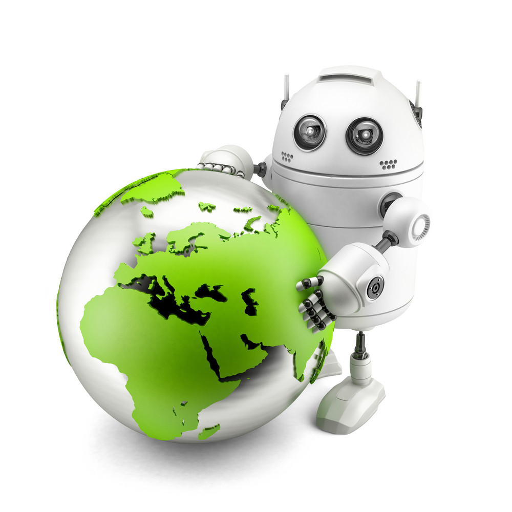 Robot With Green Earth Globe