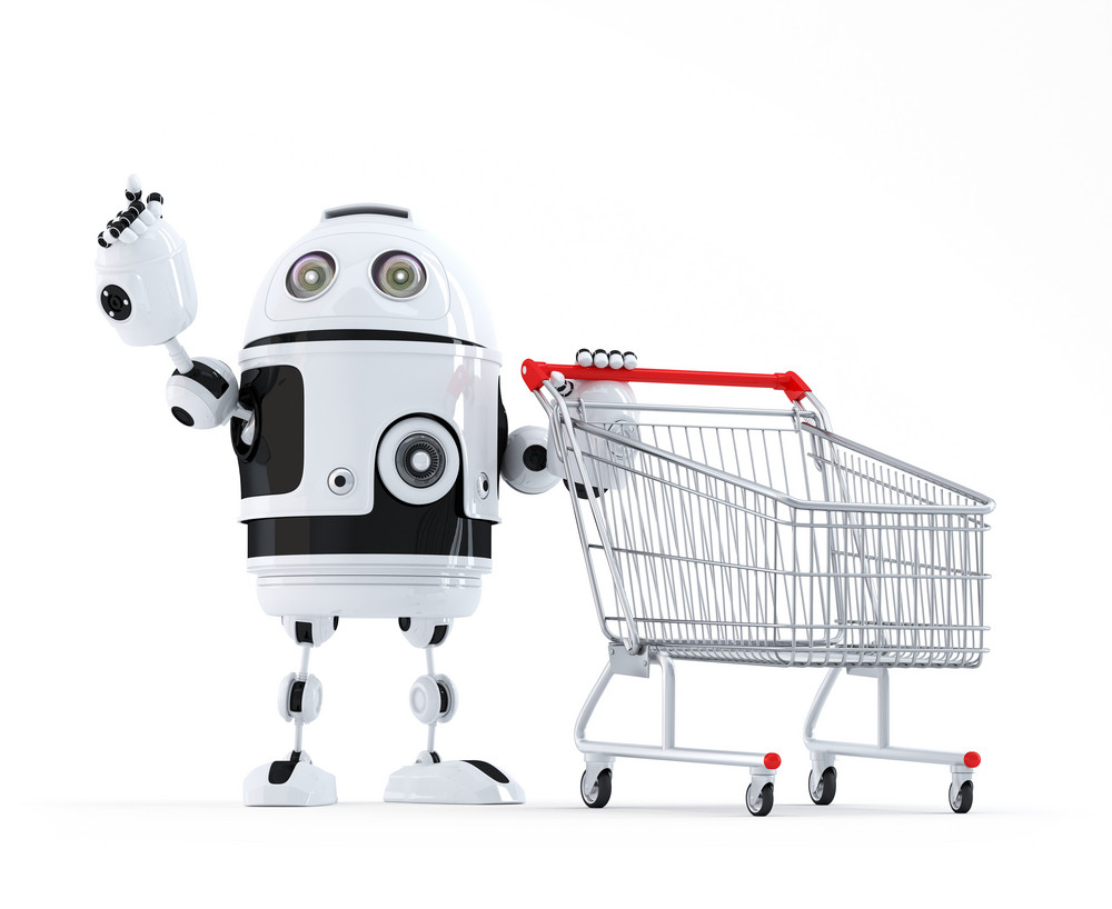 Robot With Shopping Cart Pointing At Invisible Object