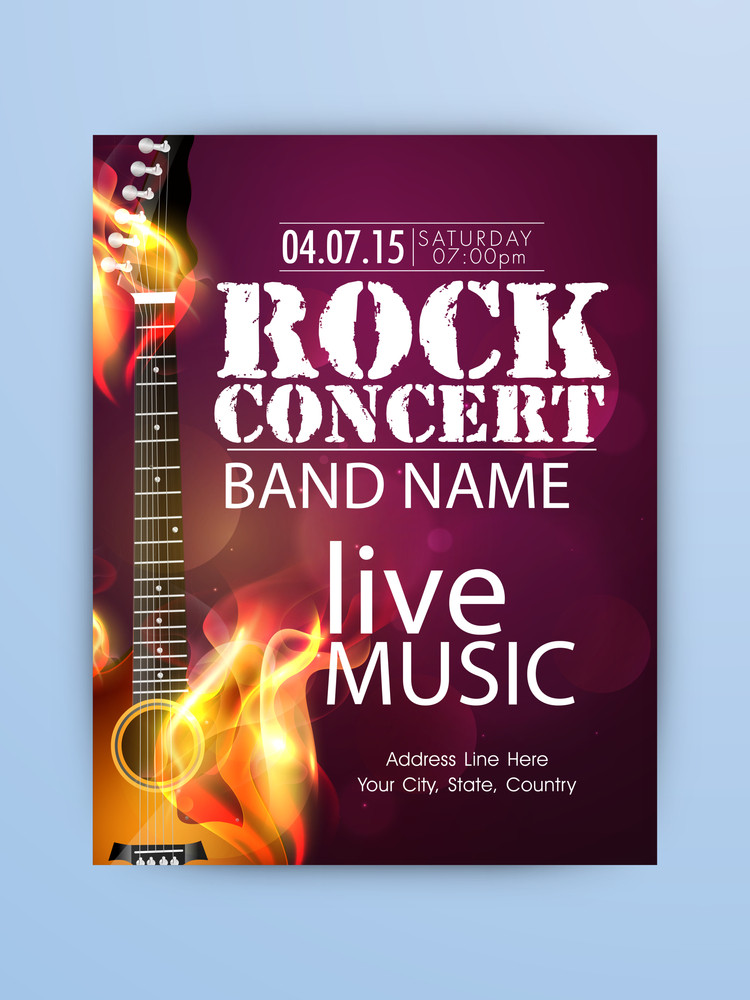 Rock Music Night Party celebration one page Flyer Banner or Template with illustration of a guitar in flame.