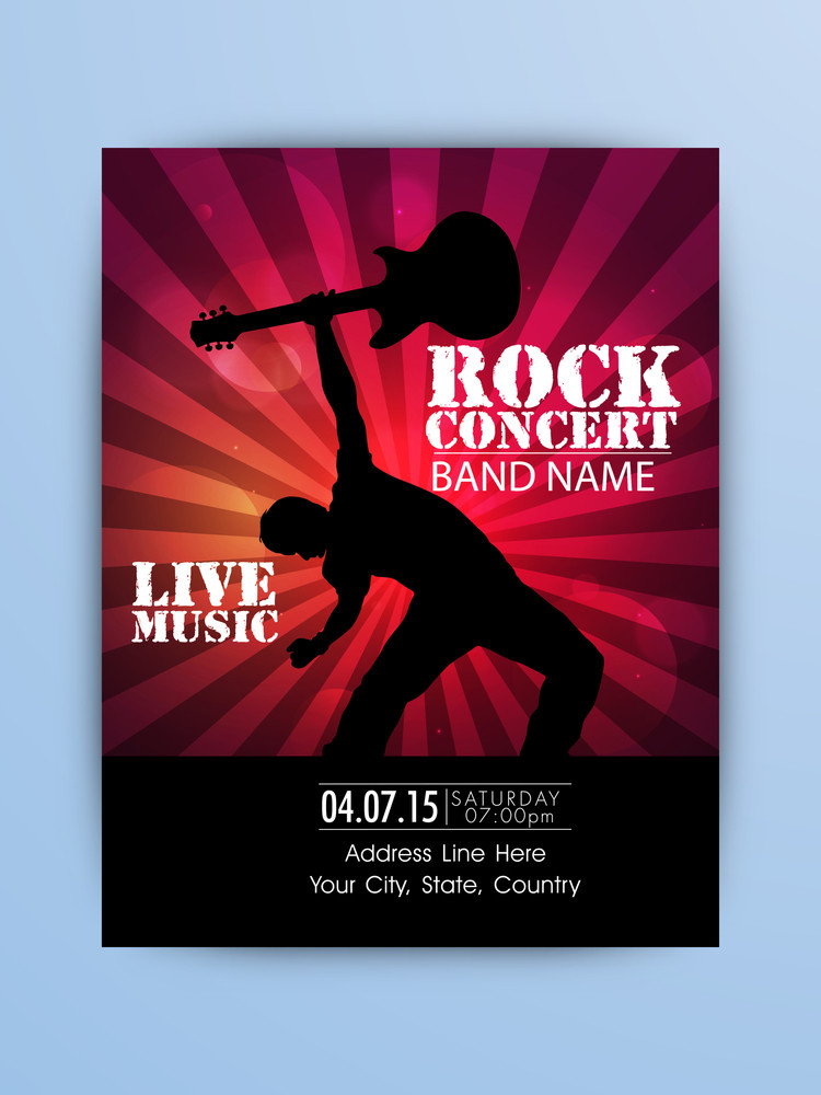 Rock Music Night Party celebration one page Flyer Banner or Template with illustration of a guitarist.
