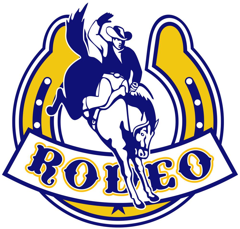 Rodeo Cowboy Bucking Bronco Horseshoe