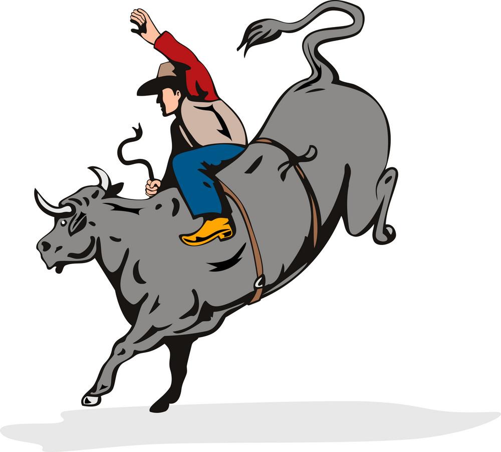 Rodeo Cowboy Bull Riding Retro