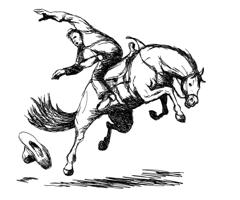 Rodeo Cowboy Falling Off Horse
