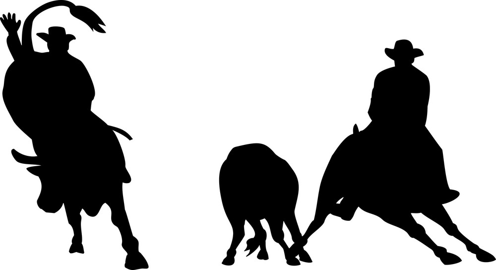 Rodeo Cowboy Horse Bull Riding Silhouette