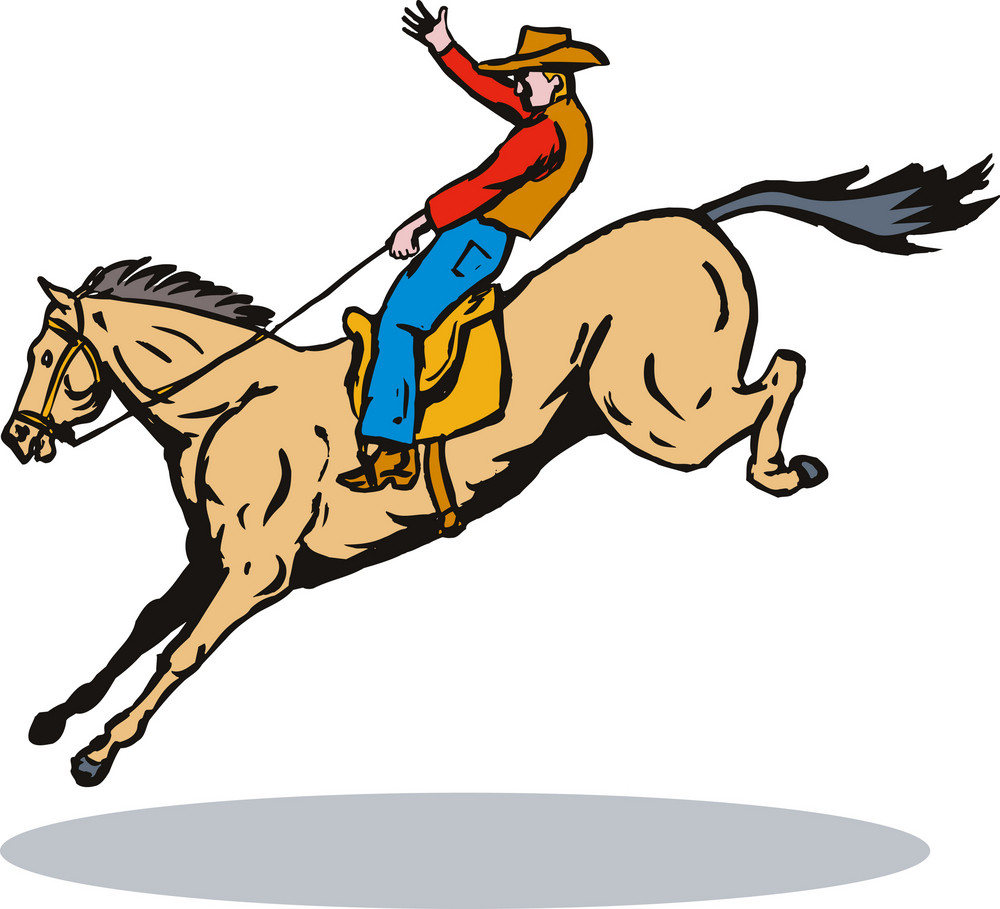 Rodeo Cowboy Jumping Horse Riding Retro