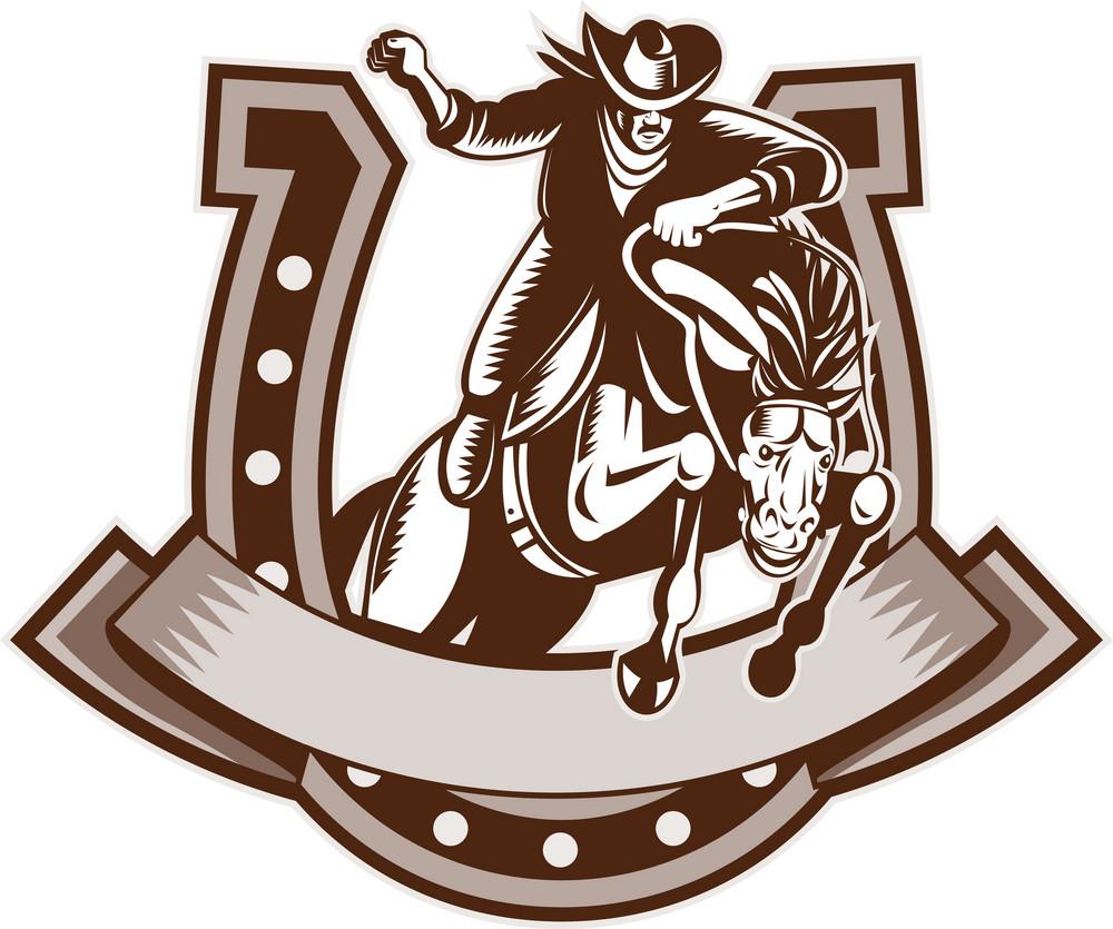 Rodeo Cowboy Riding Bronco Horse Horseshoe