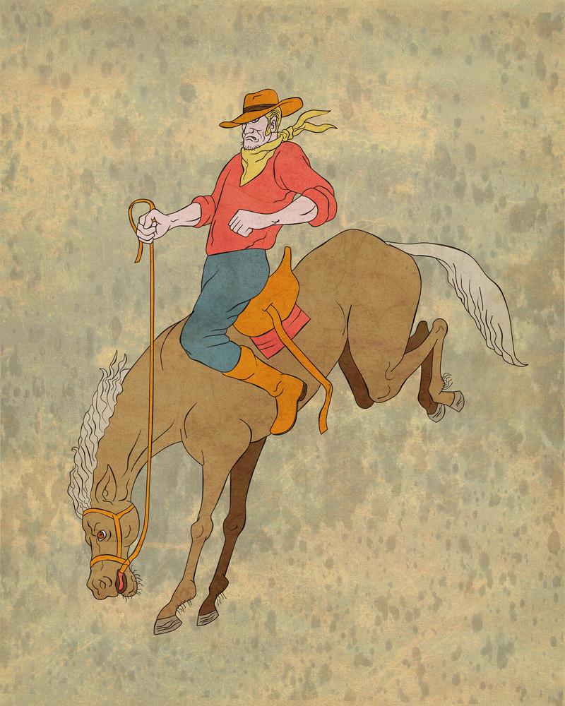 Rodeo Cowboy Riding Bucking Horse Bronco