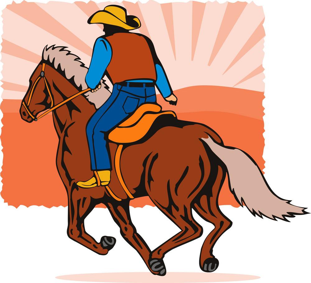 Rodeo Cowboy Riding Horse