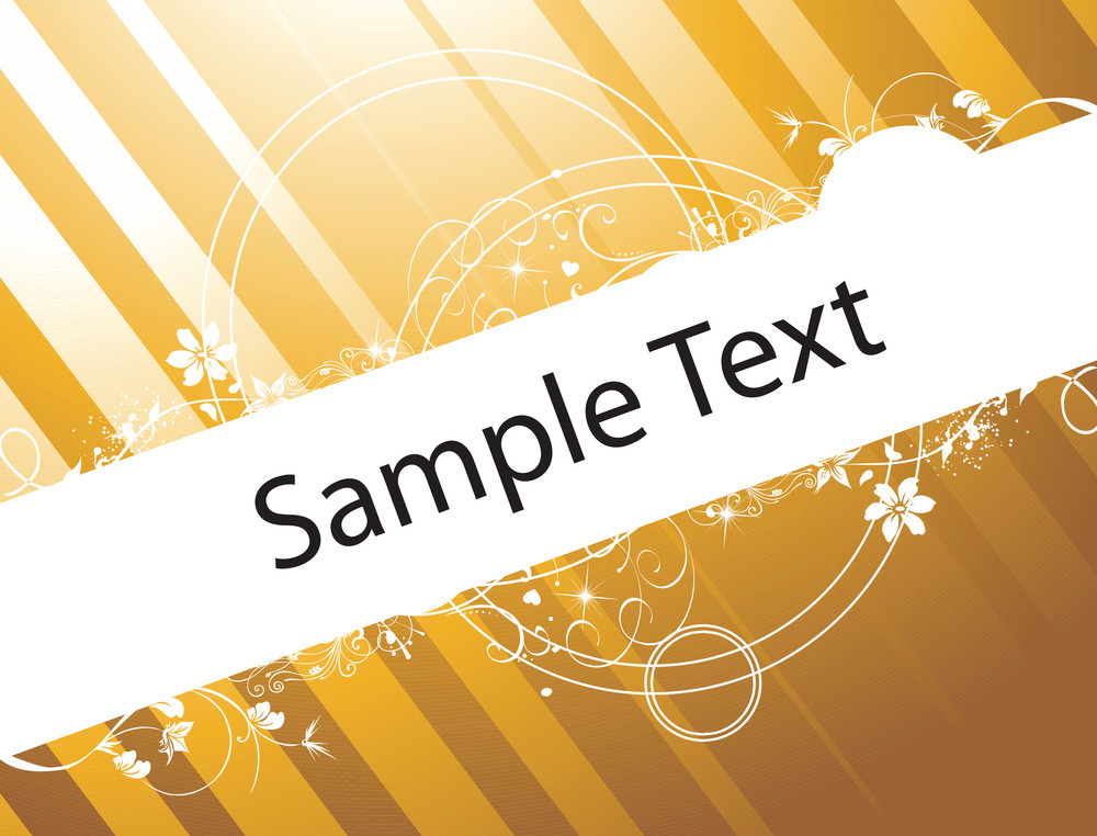 Romantic Floral Vector Wallpaper For Sample Text On Golden Background