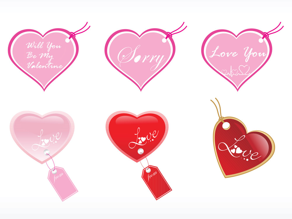 Romantic Gift Tag Vector With Heart