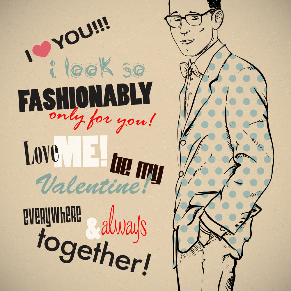 Romantic Greeting Card With Stylish Boy And Text. Vector Collection.