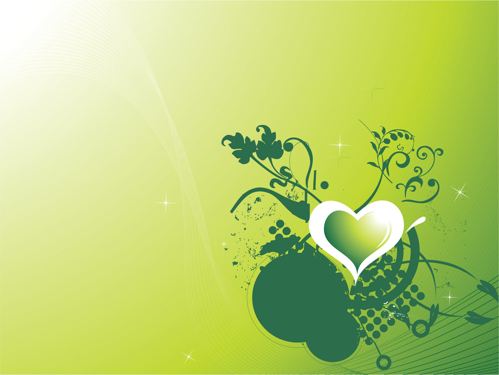 Romantic Heart And Waves Vector Wallpaper