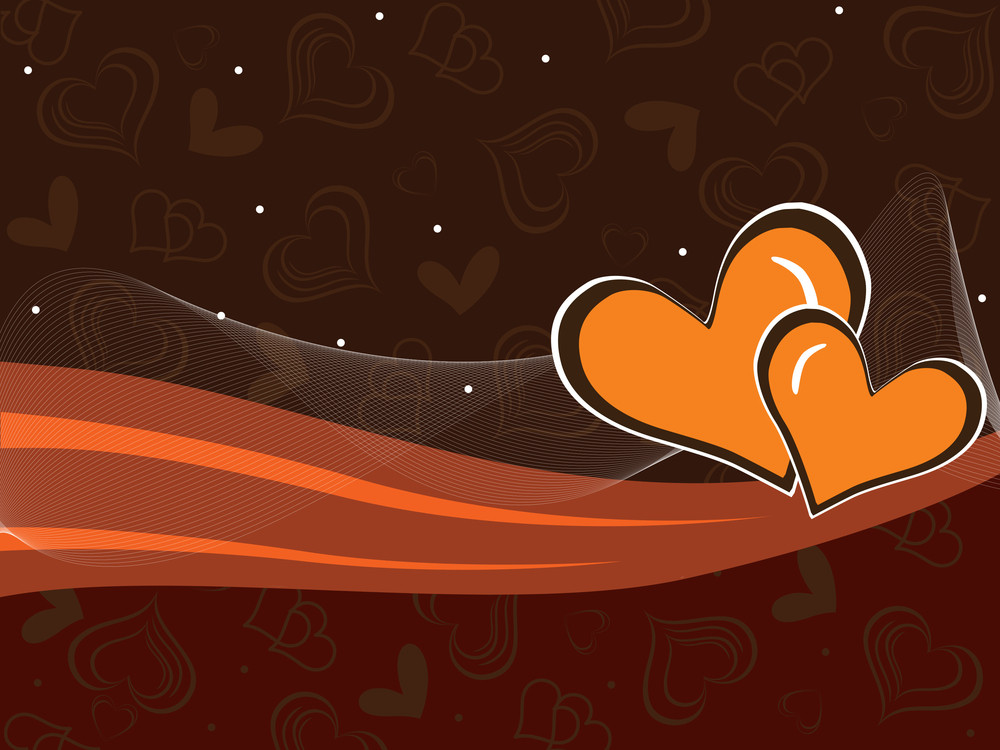 Romantic Heart Background With Wave