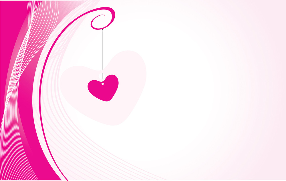 Romantic Heart On Wavy Background