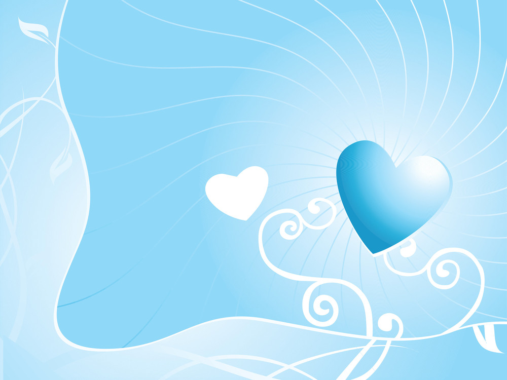 Romantic Hearts And Floral Elements On Sunny Background