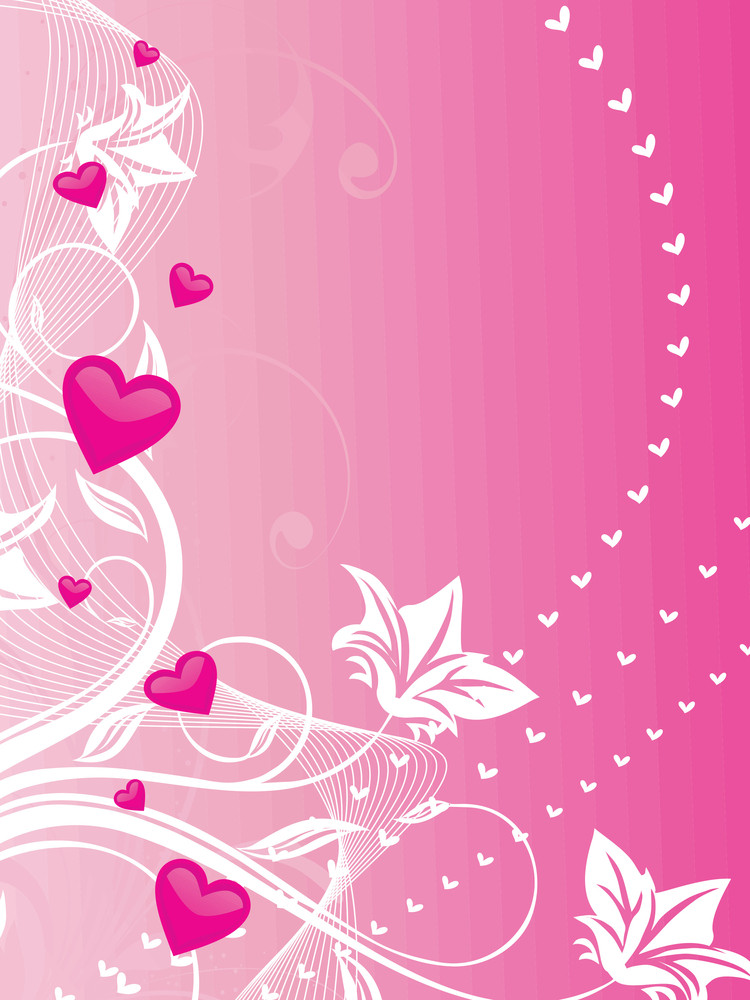 Romantic Hearts And Floral Vector Banner