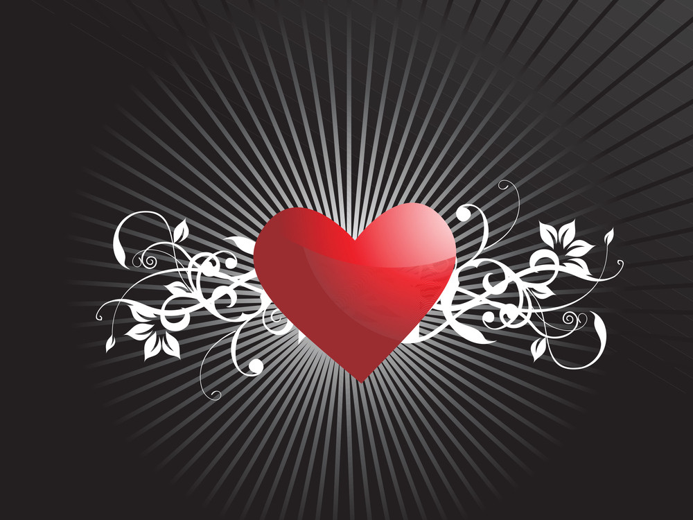 Romantic Red Heart Floral Background