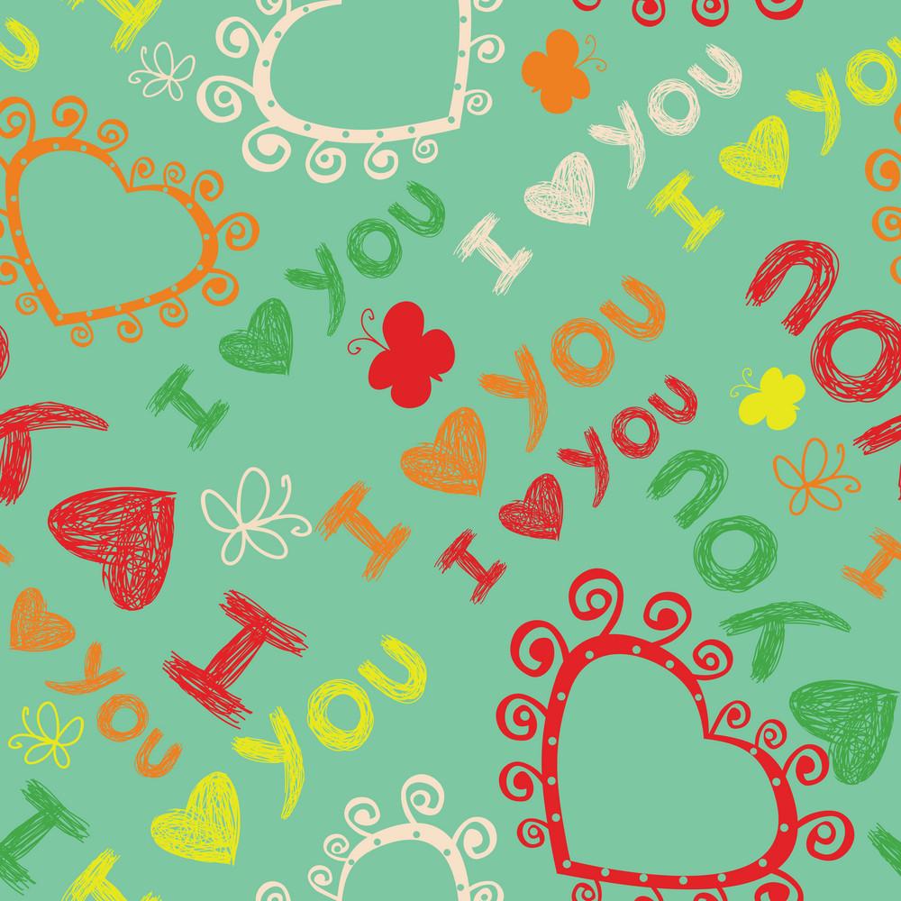 Romantic Seamless Pattern. I Love You.