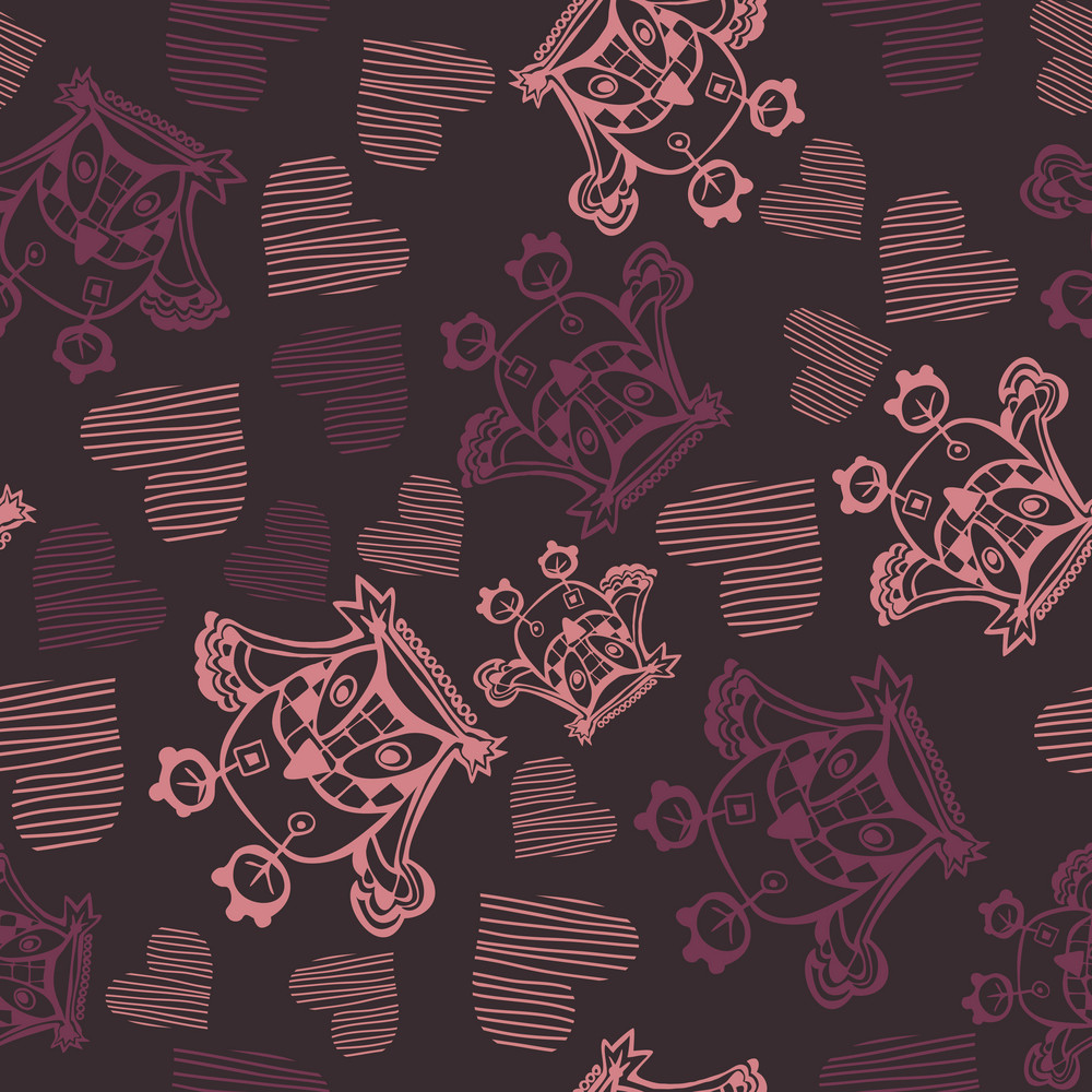 Romantic Seamless Pattern With Owl And Heart. Valentine's Day Texture.
