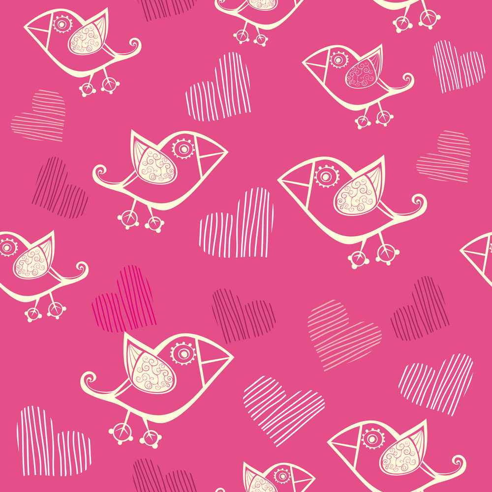 Romantic Seamless Pattern With Stylized Bird And Heart.