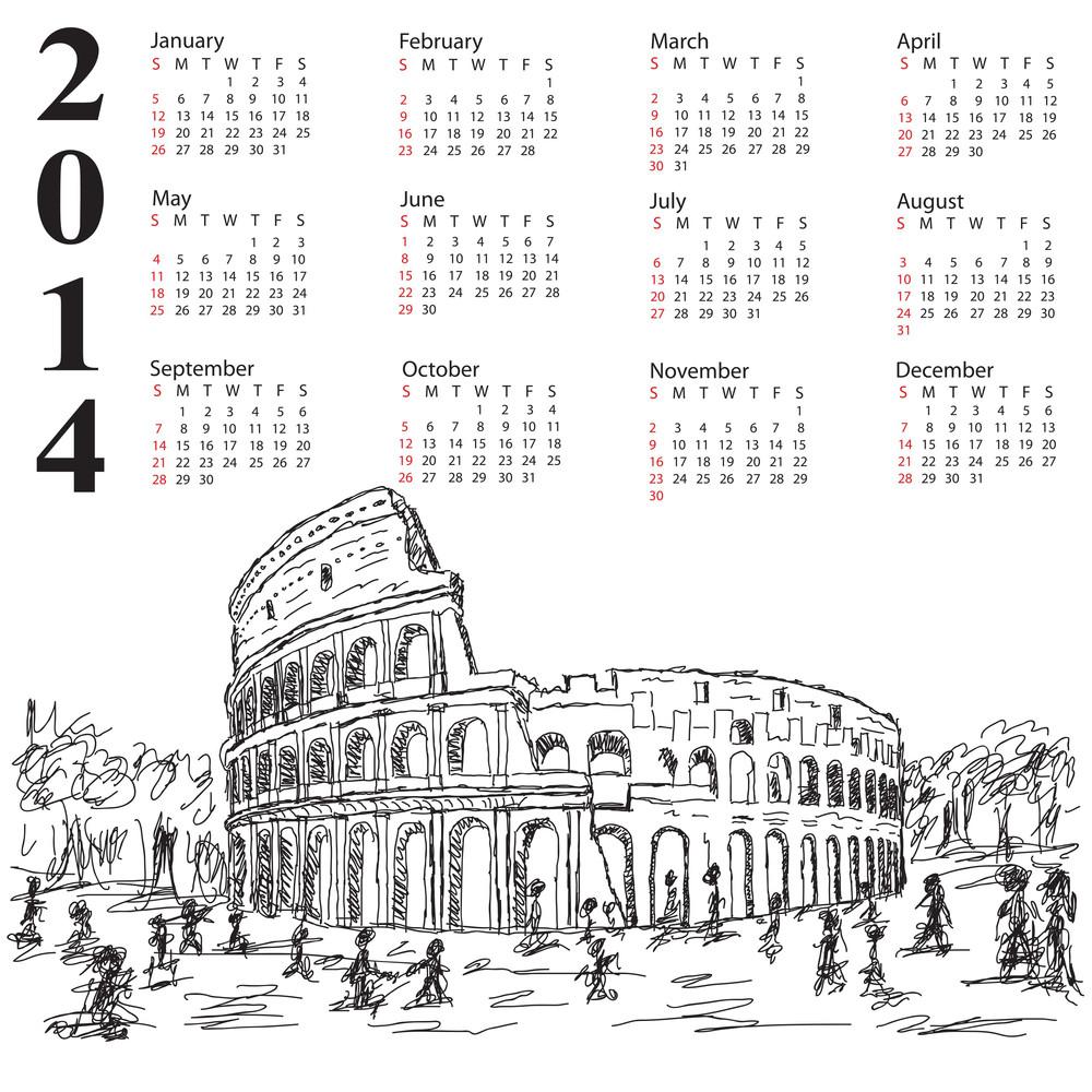 Rome Colosseum 2014 Calendar
