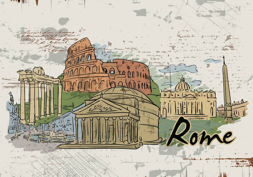 Rome Doodles Vector Illustration