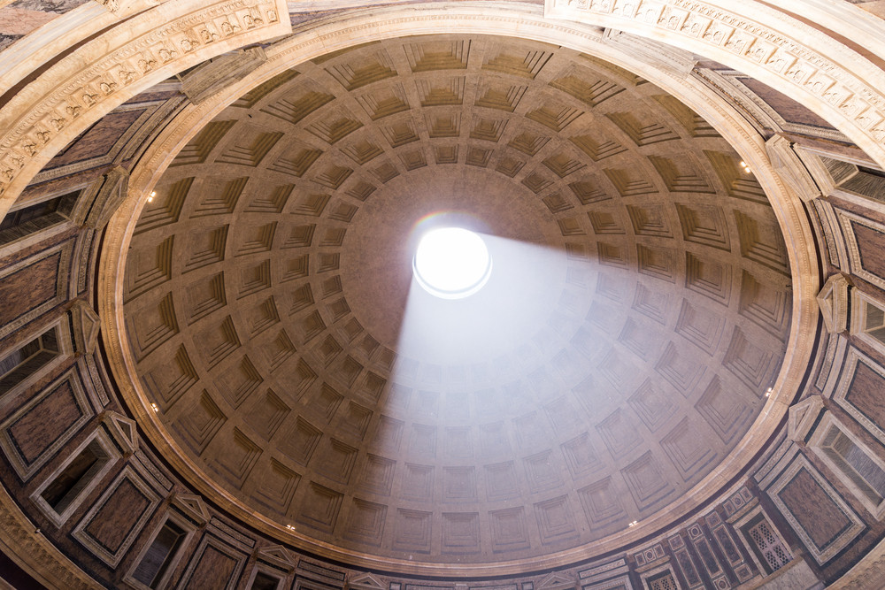 ROME, ITALY - JUNE 08: Pantheon in Rome, Italy at June 08, 2014. Pantheon was built as a temple to all the gods of ancient Rome, and rebuilt by the emperor Hadrian about 126 AD.