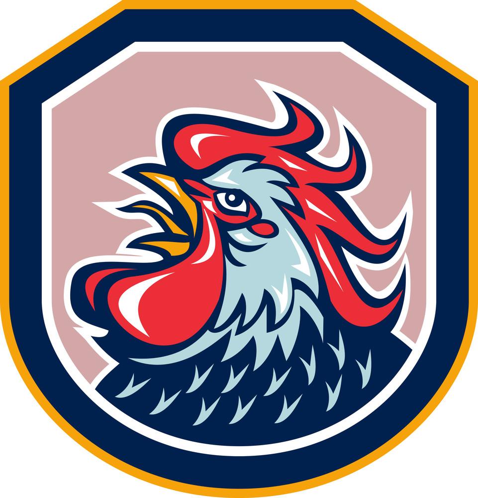 Rooster Cockerel Crowing Shield Retro