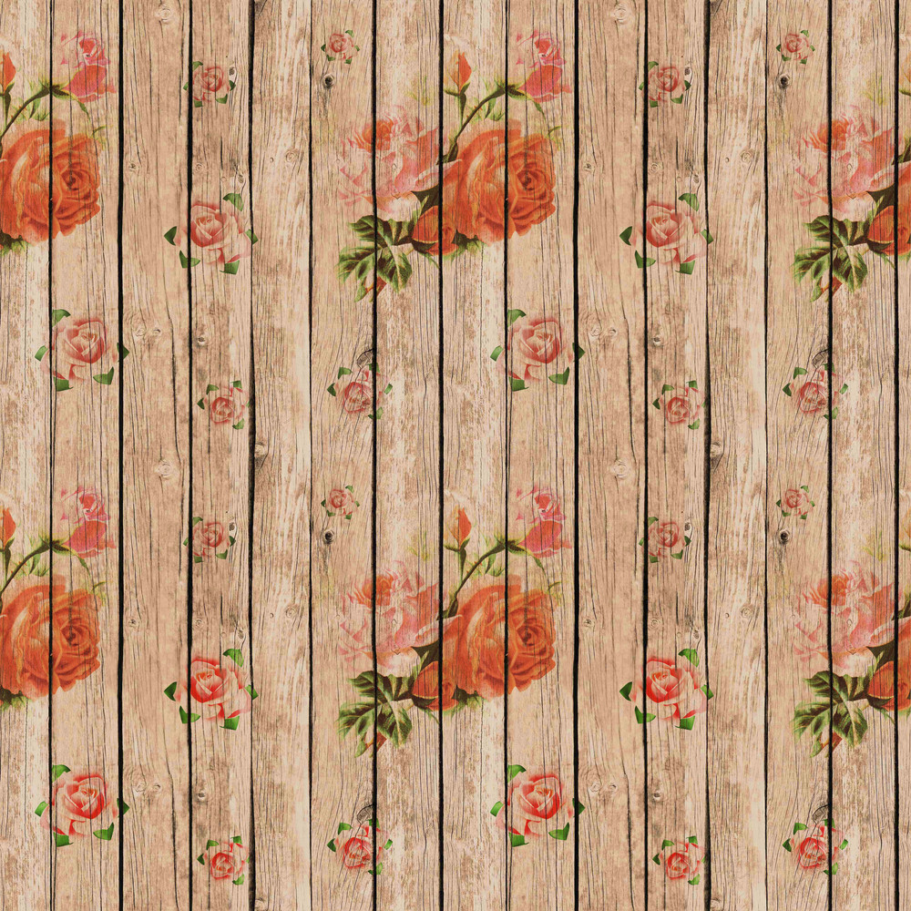 Design Texture Of Romantic Rose Painted Wooden Boards