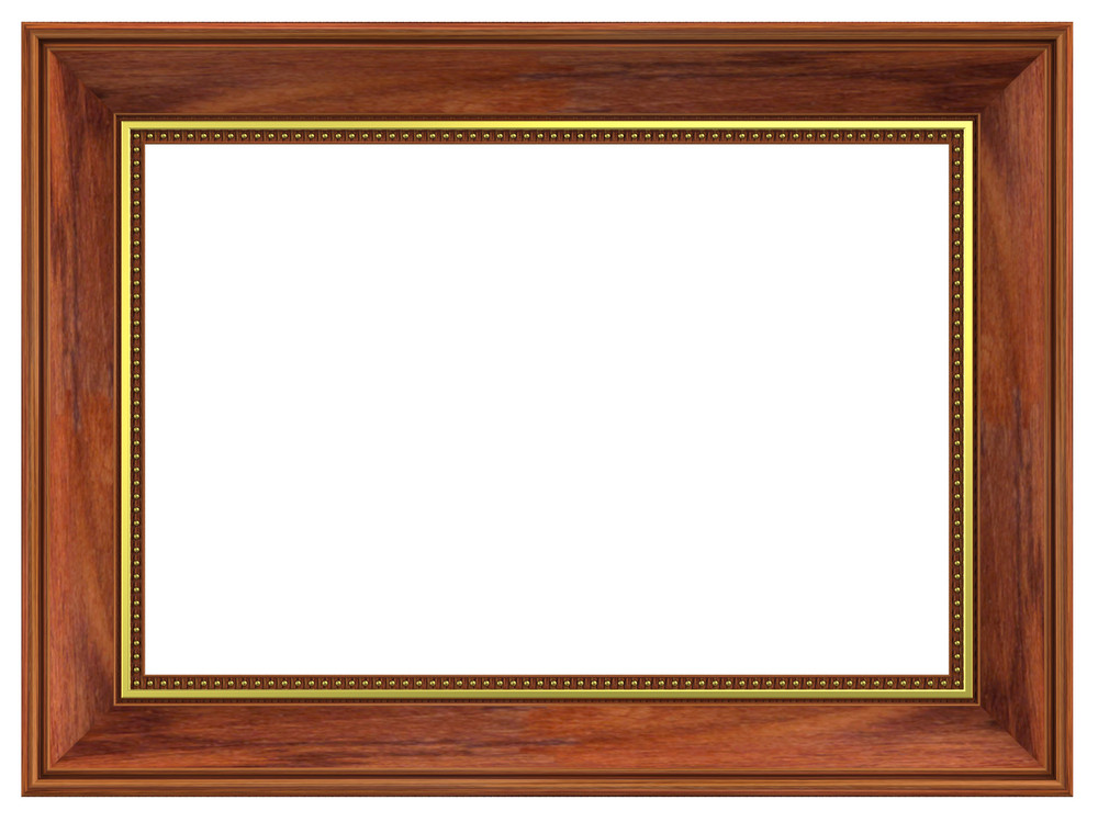 Rosewood With Gold Rectangular Frame Isolated On White Background.