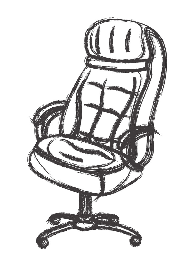Rough Office Sofa Chair Vector Sketch