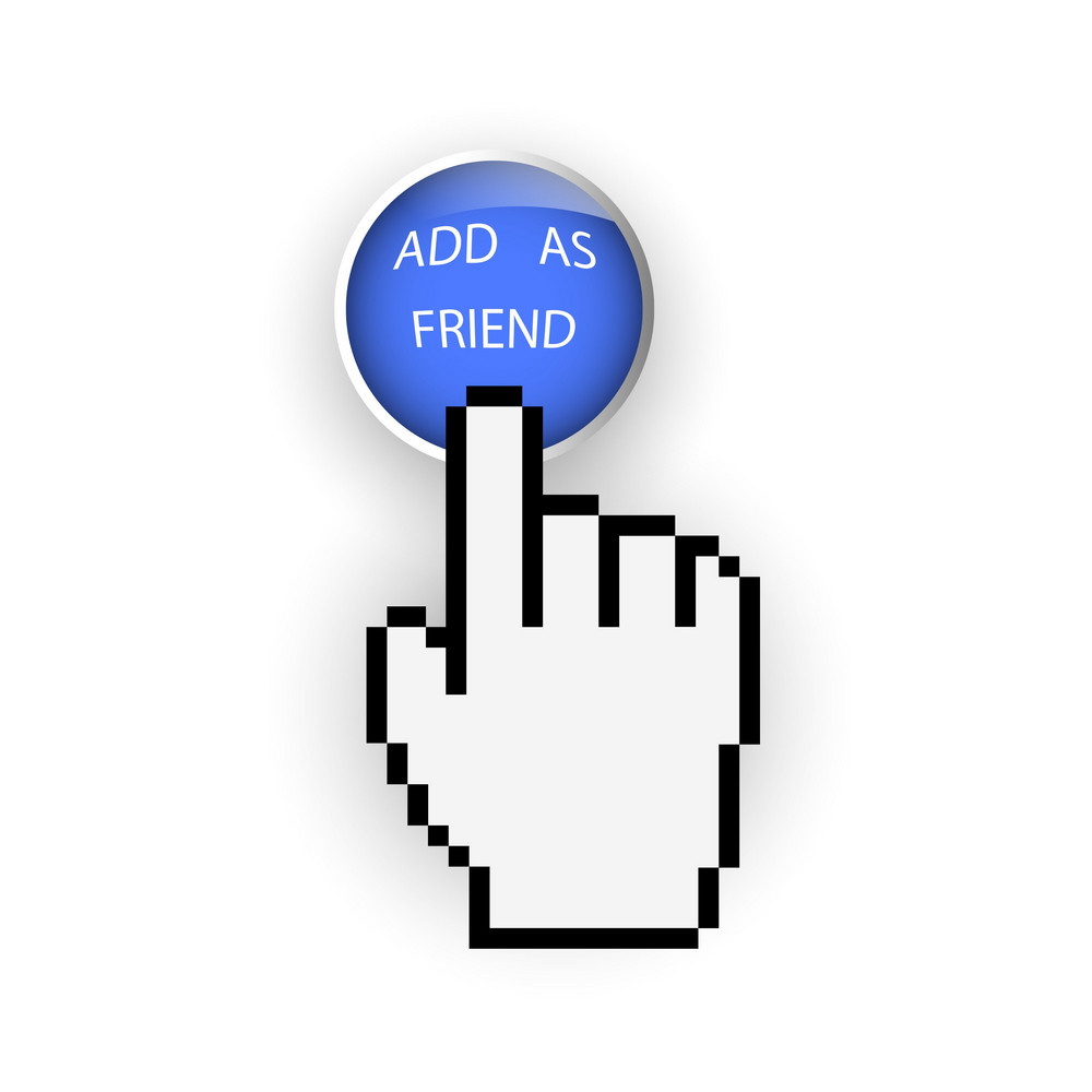 Round Blue Button With Add As Friend And Hand Cursor