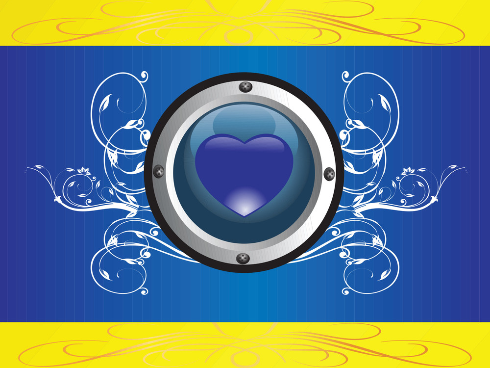 Rounded Frame With Heart Logo On Floral Blue Background
