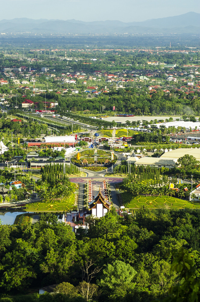 royal flora chiang mai from above