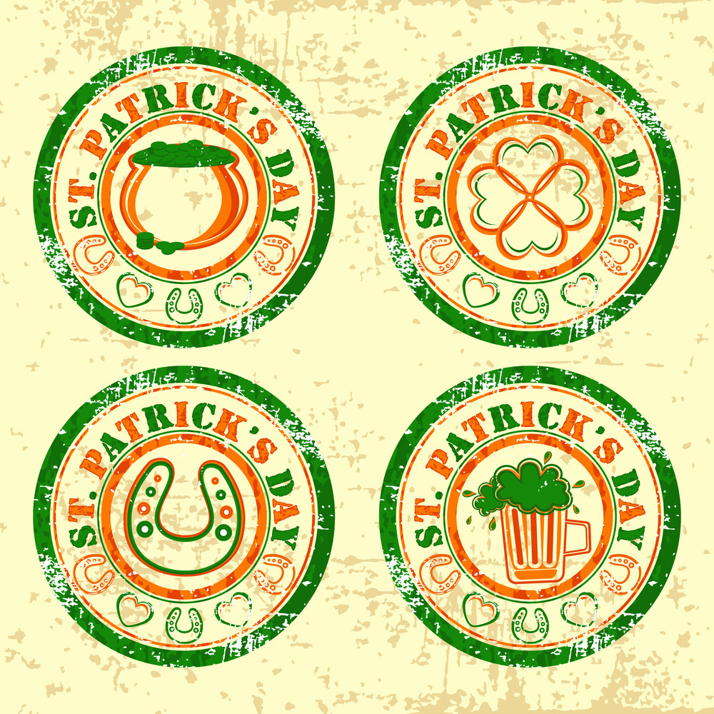Rubber Satmp With Ornaments For St. Patrick's Day. Vector.