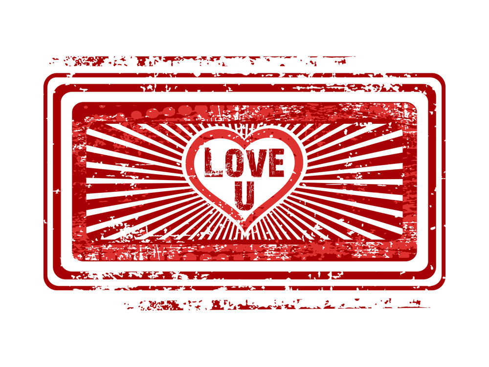 Rubber Stamp With Love You Text . Vector.