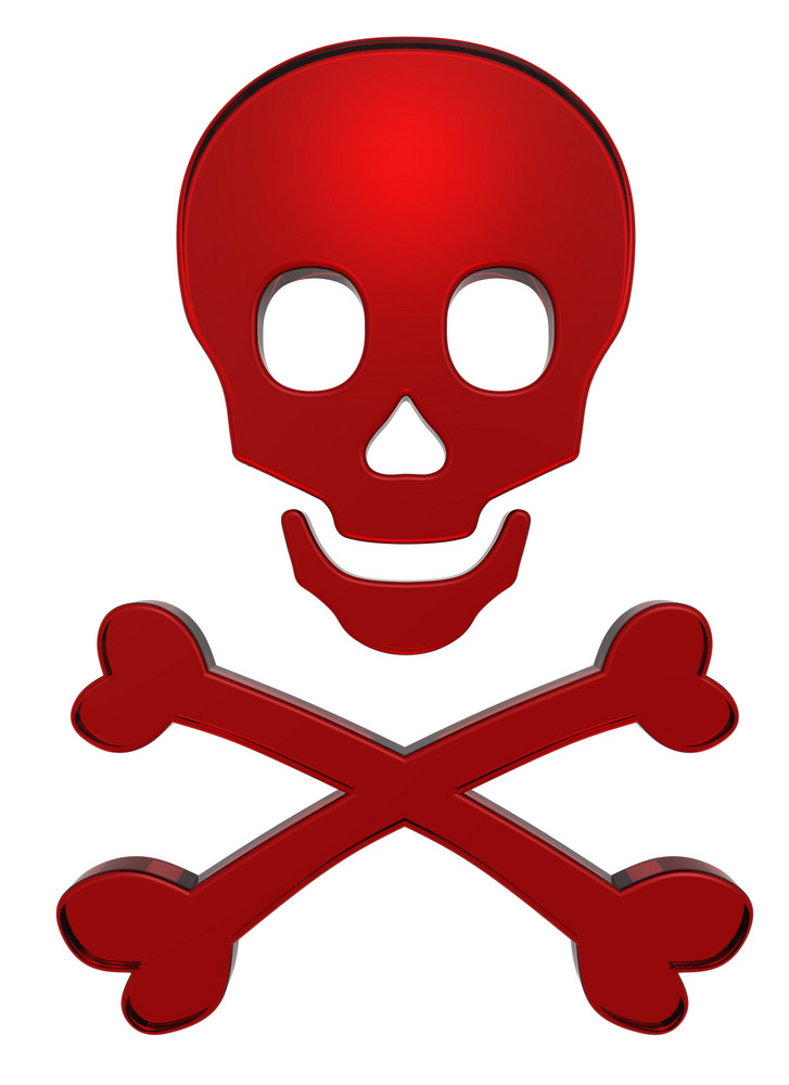 Ruby Skull And Crossbones Isolated On White.