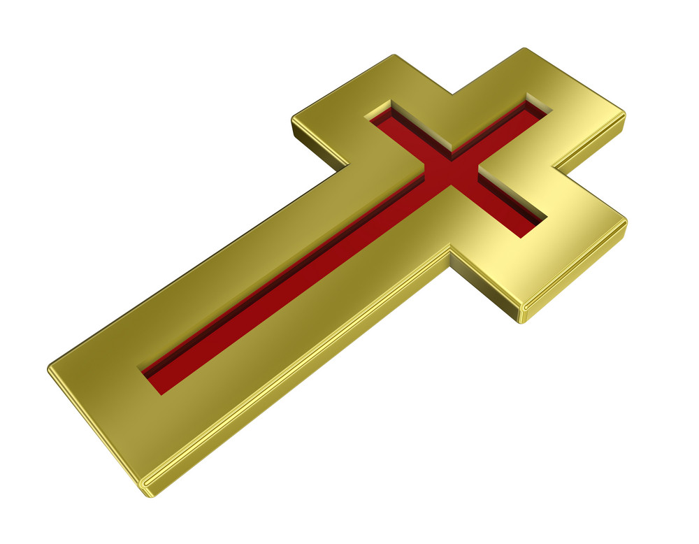 Ruby With Gold Frame Christian Cross Isolated On White.