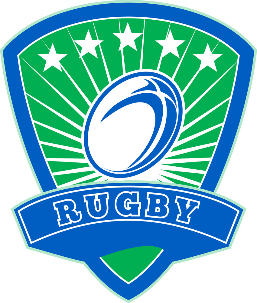 Rugby Ball With Stars Shield