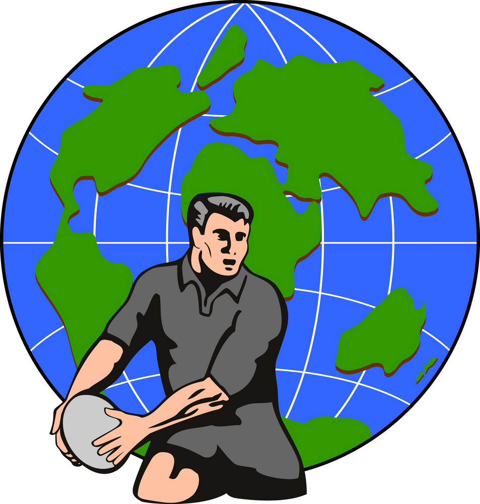 Rugby Passing Ball Front Globe