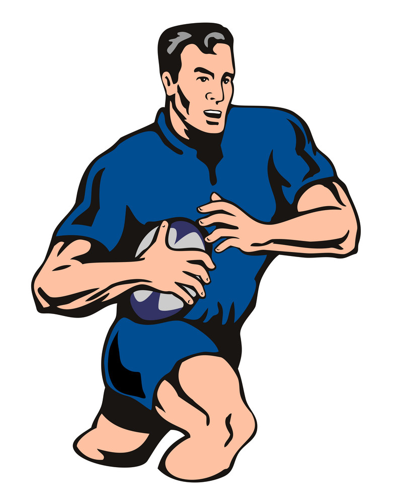 Rugby Player Attacking Blue