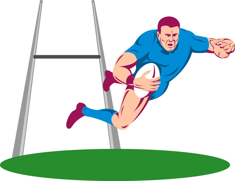 Rugby Player Diving To Score A Try