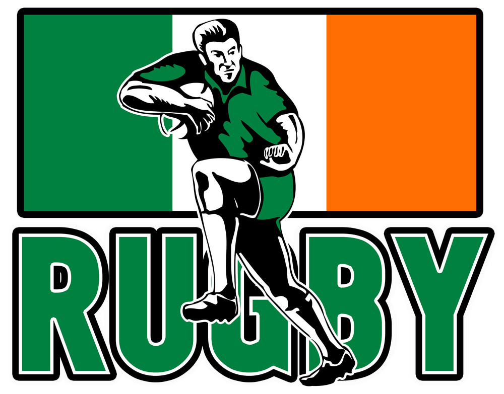 Rugby Player Fending Off Ireland Flag