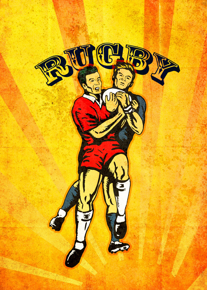 Rugby Player Jumping Catching Ball Grunge