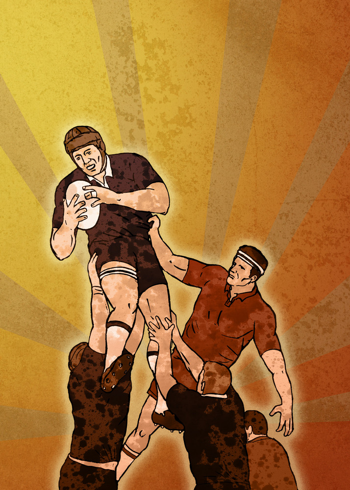 Rugby Player Jumping Lineout