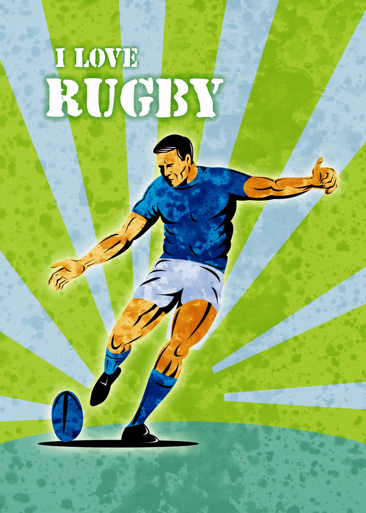 Rugby Player Kicking Ball Grunge