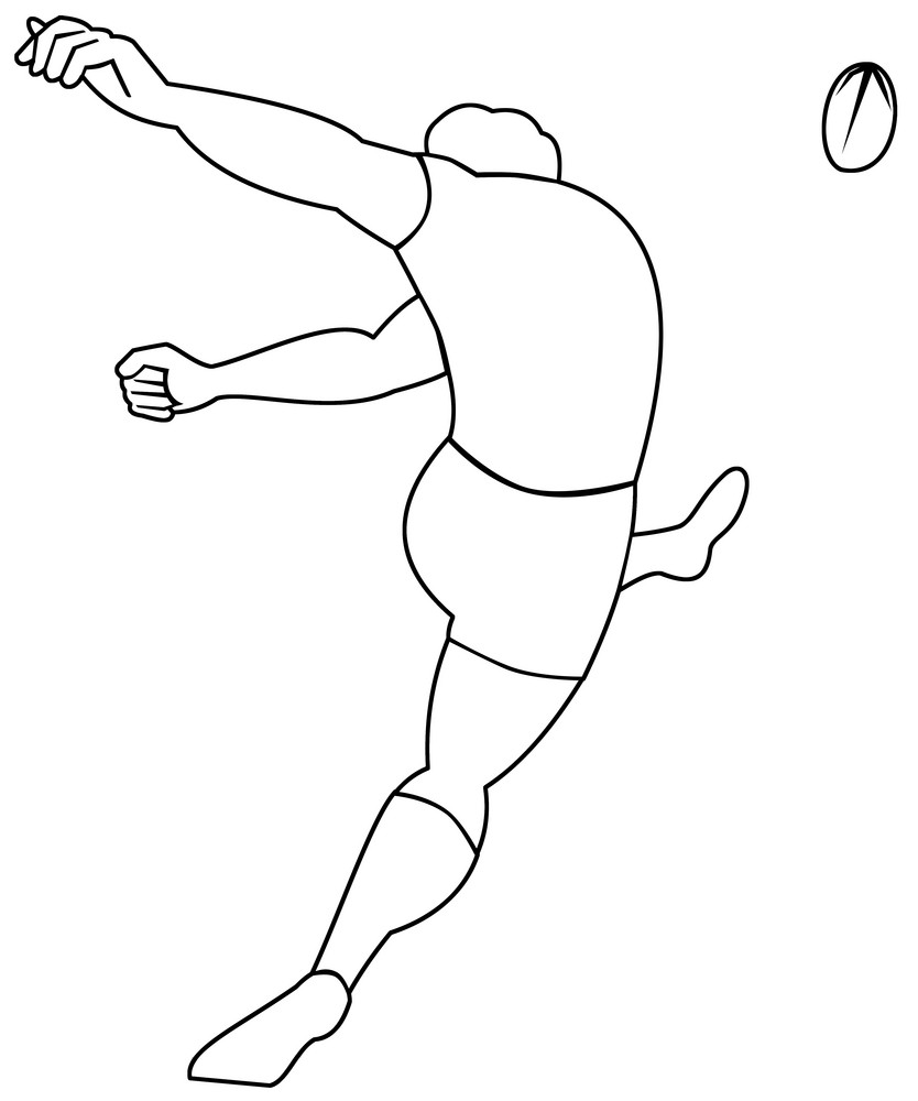 Rugby Player Kicking Ball Viewed From Rear