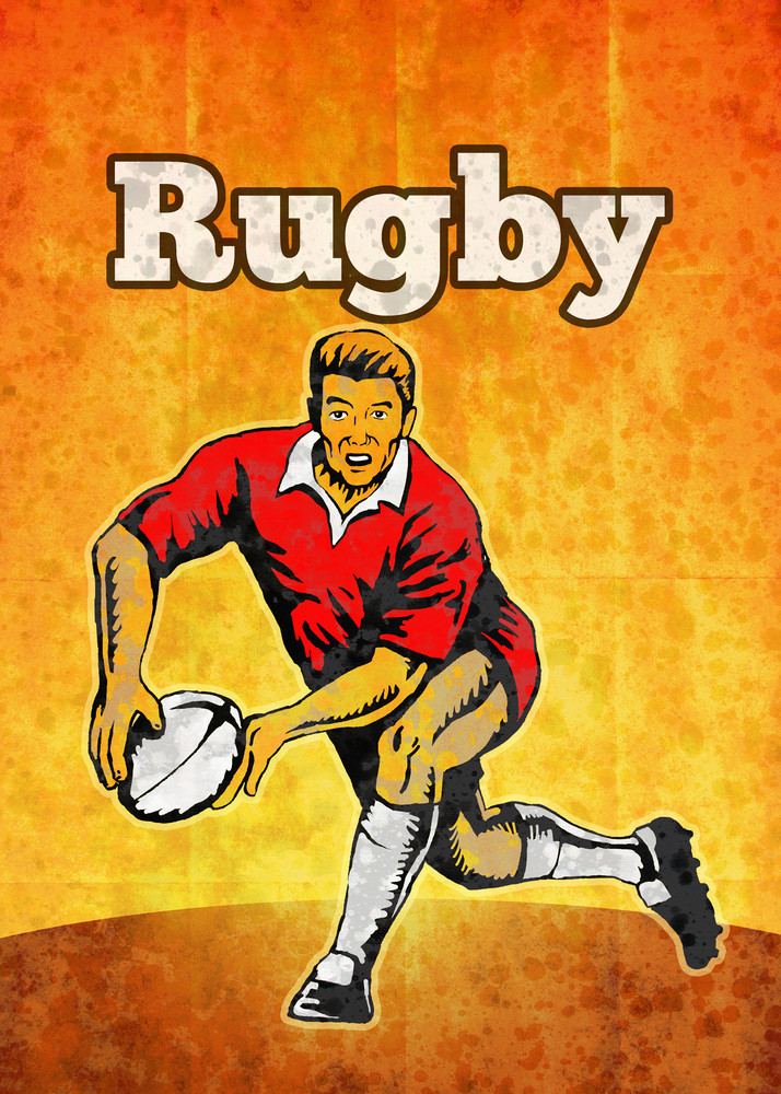 Rugby Player Passing Ball Retro