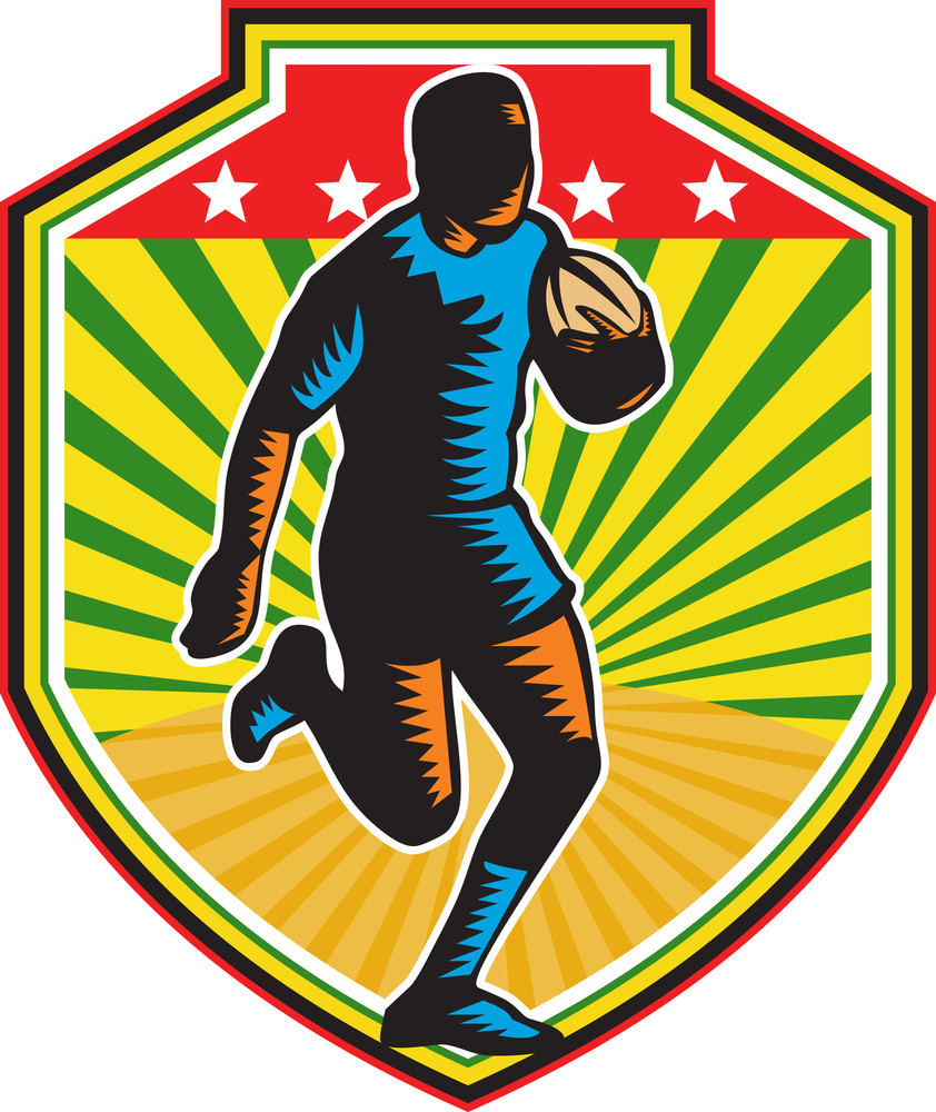Rugby Player Running Ball Shield Retro